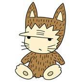 Cute ancient cat character - Primitive cat of dour look