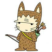 Cute ancient cat character - Preparation for hunting