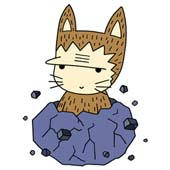 Cute ancient cat character - Cat that was born from rock