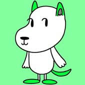 Fashionable, colorful dogs character - Cheerful green dog