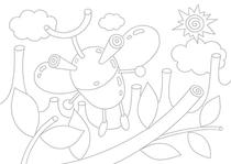 Original coloring pages 「Insect robot cartoon character - The sun and beetle」