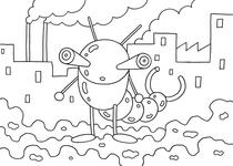 Original coloring pages 「Insect robot cartoon character - The tail is an insect of scissors」