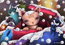 Free Art, Illustrations, Pictures and Images 「Fairy tale. Snow Cat - Abandoned cat」