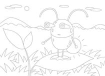 Original coloring pages 「Insect robot cartoon character - Lovely glowfly on leaf」