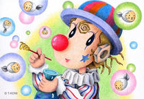 Free Art, Illustrations, Pictures and Images 「Romantic pierrot - Soap bubbles」
