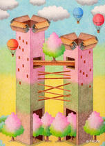 Free Art, Illustrations, Pictures and Images 「Building - Cherry blossoms tower」