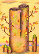 Free Art, Illustrations, Pictures and Images 「Building - Fallen leaf tower」