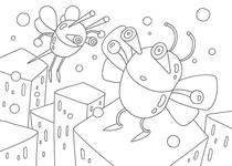 Original coloring pages 「Insect robot cartoon character - Two surprised insects」