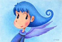 Free Art, Illustrations, Pictures and Images 「Cute angel - Blue sky angel」