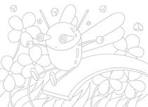 Original coloring pages 「Insect robot cartoon character - Insect that bubbles over with slide」
