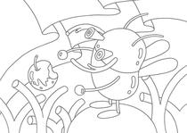 Original coloring pages 「Insect robot cartoon character - Red insect that ate apple」
