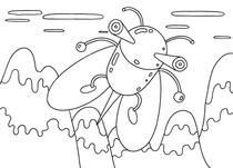 Original coloring pages 「Insect robot cartoon character - Insect that had dangerous needle」
