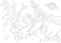 Original coloring pages 「Insect robot cartoon character - Big insect that travels around space」