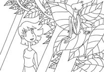 "Original coloring pages 「Comic illustration ""Cute lady"" - Hello the fairy of the leaf」"