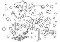 "Original coloring pages 「Comic illustration ""Cute lady"" - Let's jump over the hurdles together」"