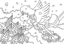 "Original coloring pages 「Comic illustration ""Cute lady"" - Angel who delivers fairy in forest」"