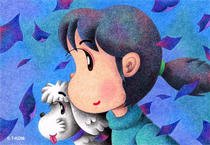 Free Art, Illustrations, Pictures and Images 「Lovely kids - Girl of wind」