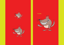 Free book jacket design 「Cheerful dog cartoon character - Ferocious dog that laughs」