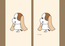 Free book jacket design 「Cheerful dog cartoon character - Puppy with cute long ear」