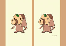 Free book jacket design 「Cheerful dog cartoon character - Wood dog like log」