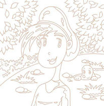 "Original coloring pages 「Comic illustration ""Cute lady"" - Lovely girl who enjoys stroll」"