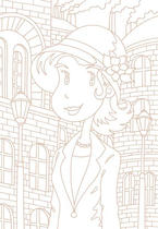"Original coloring pages 「Comic illustration ""Cute lady"" - Antique town and beautiful woman」"