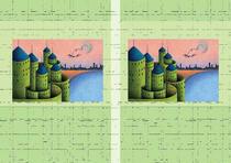Free book jacket design 「Building illustration (Trick art) - Castle in lake side」