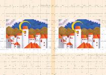 Free book jacket design 「Building illustration (Trick art) - Crescent tower」