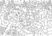 "Original coloring pages 「Comic illustration ""Fairies' villages"" - Robot land carnival」"