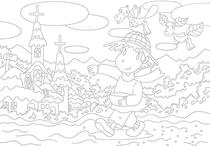 "Original coloring pages 「Comic illustration ""Fairies' villages"" - Fairies who work in field」"