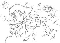 "Original coloring pages 「Comic illustration ""Cute angel"" - Cute angel that flies over the sky」"