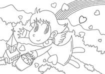 "Original coloring pages 「Comic illustration ""Cute angel"" - Rainbow that can be done by love」"
