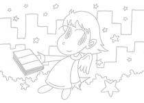 "Original coloring pages 「Comic illustration ""Cute angel"" - It reads if the night comes」"
