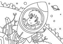 "Original coloring pages 「Comic illustration ""Cute angel"" - Dreamlike space travel」"
