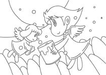 "Original coloring pages 「Comic illustration ""Cute angel"" - Inside in bucket of full happiness」"