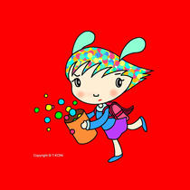 Free iPad wallpapers using cartoon character 「Funky girl - Bad mood」