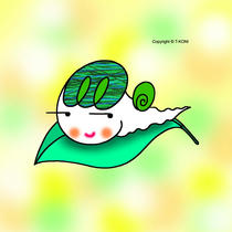 Free iPad wallpapers using cartoon character 「Snail character - Snail on leaf」