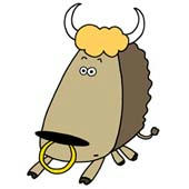 「Pleasant animals cartoon - Big face animal (Buffalo)」