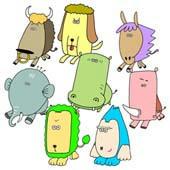 「Pleasant animals cartoon - Big face animal (Big face family)」