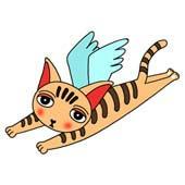 「Lovely cat cartoon - Angel Cat (Winged cat)」