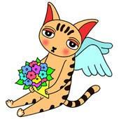 「Lovely cat cartoon - Angel Cat (Cat that has bouquet)」