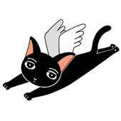 「Lovely cat cartoon - Angel Cat (Black cat)」