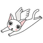 「Lovely cat cartoon - Angel Cat (White cat)」