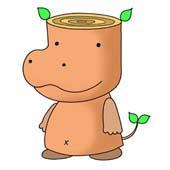 「Hippopotamus cartoon - Wood hippopotamus (Body of log)」