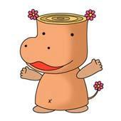 Original cartoon character design 「Hippopotamus cartoon - Wood hippopotamus (The flower bloomed)」
