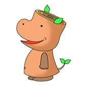 「Hippopotamus cartoon - Wood hippopotamus (Cheerfulness)」