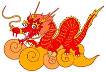 Japanese dragon design, Red Dragon, Clouds