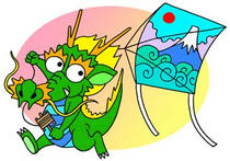 Kite-flying, Mt. Fuji, New Year's greetings, Dragon, Sexagenary cycle
