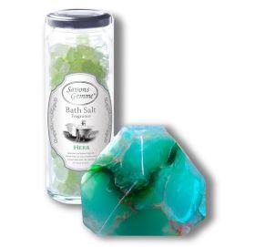 美しい緑のジェイド/バスソルト&ソープセット