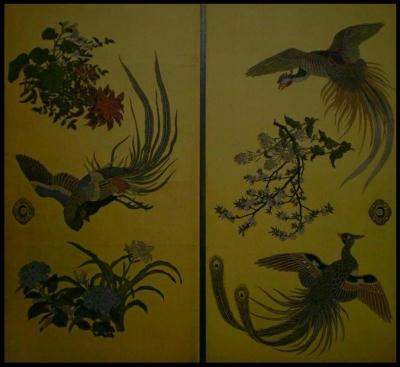 東本願寺 阿弥陀堂襖絵「花鳥図」 羽田月洲筆